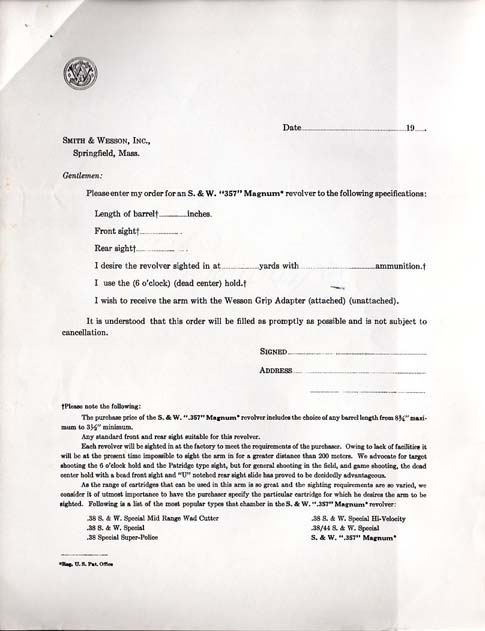 1935 S&W .357 Registered Magnum Order Form