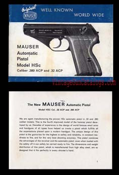 1950's Mauser HSc Manual-English