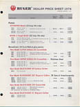 1974 Ruger Dealer Price Sheet