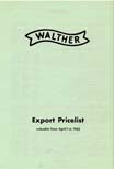 1962 Walther Export Price List