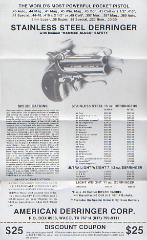 1984 American Derringer Catalog/Flyer