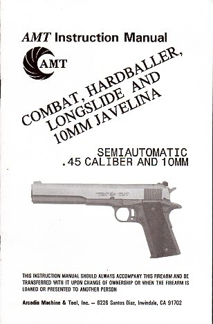 AMT Combat-Hardballer-Longslide-10MM Javelina Manual