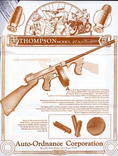 Auto-Ordnance Corp , Vintage Gun Catalogs