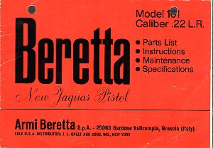 1969 Beretta Model 101 Instructions