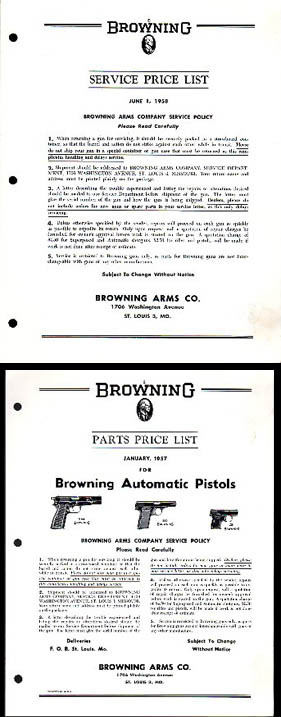 1957-58 Browning Parts Price List