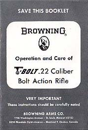 1960's Browning T-Bolt Manual #2