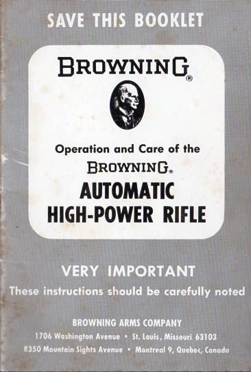 1960's Browning Semi-Auto Rifle Manual