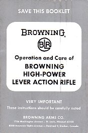 1970 Browning BLR Manual