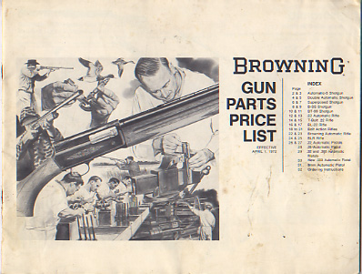 1972 Browning Gun Parts Price List