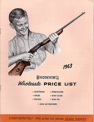 1963 Browning  Price List/Catalog