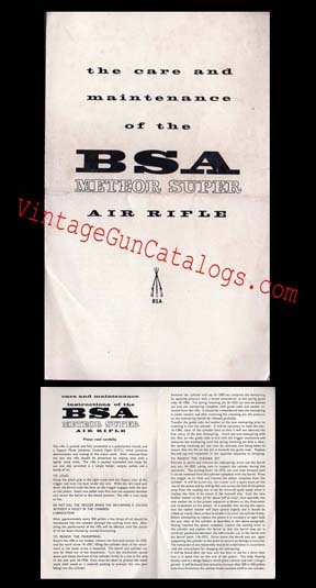 1967 BSA Meteor Super Air Rifle Manual