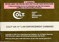 1995 ColtAR-15 Law Carbine Manual