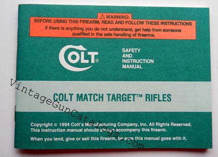 "1994 Colt ""Sporter Match Target Rifles"" Instr.Manual"