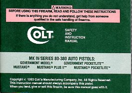 1993 Colt MK IV/Series 80-380 Auto Manual