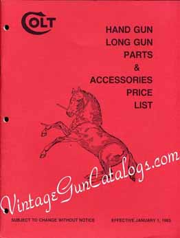 1983 Colt Hand Gun,Long Gun Parts Price List
