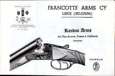 1960 Francotte Arms Cy Catalog