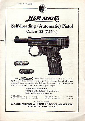 "Ca. 1914-1924 H&R ""32 Automatic Pistol"" Instructions"