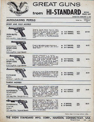 1962 High Standard Price Sheet