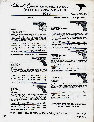 1967 High Standard Price Sheet