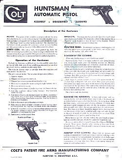 1956 Colt Woodsman Instruction Sheet