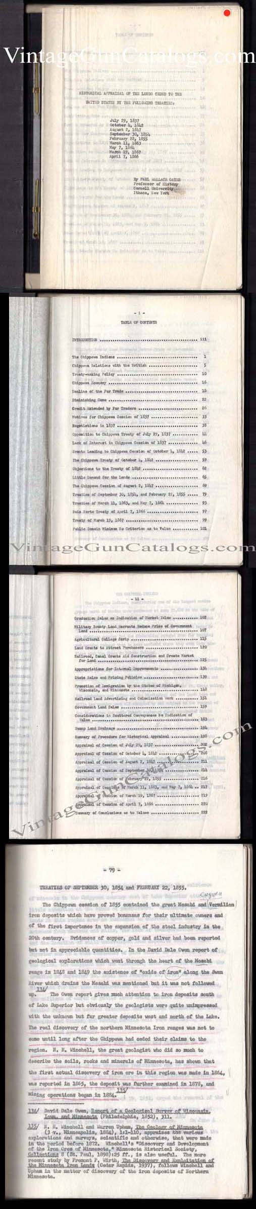 "Orig.Manuscript ""Historical Appraisal Of The Lands Ceded To The"