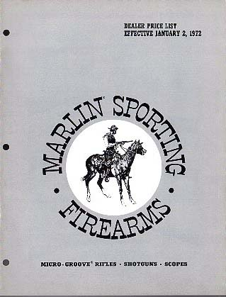 1972 Marlin Dealer Price List-Catalog