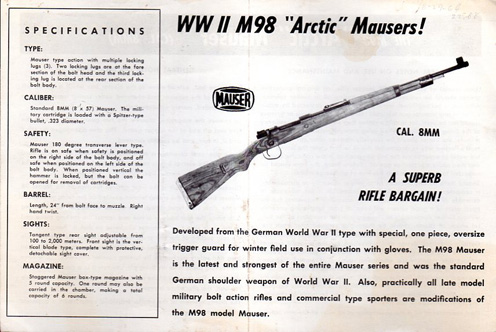 "Ca-1964 M98 ""Arctic"" Mauser Instructions"