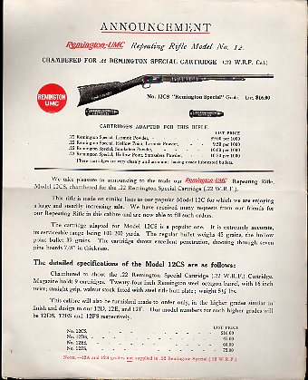 1914 Announcement Letter-Model 12CS
