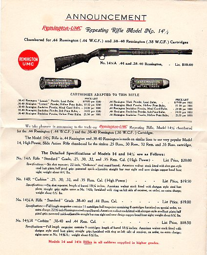1913 Remington Model 14-1/2 Broadsheet