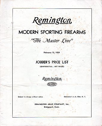1939 Remington Jobber's Price List