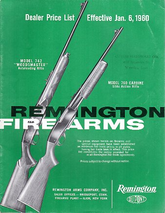 1960 Remington Dealer Prices Catalog