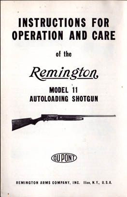 1941 Remington Model 11 Shotgun Instructions