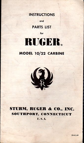 1969 Ruger 10/22 Instructions