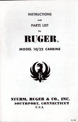 1966 Ruger 10/22 Carbine Manual