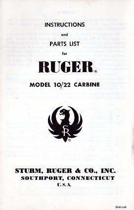 1969 Ruger 10/22 Carbine Manual