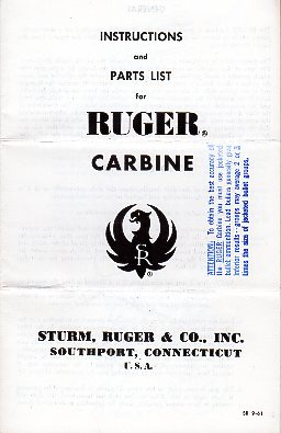 1961 Ruger .44 Mag Carbine Instructions