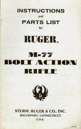 1968 Ruger M-77 Rifle Instructions