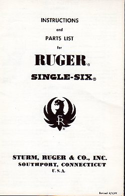 1959 Ruger Single Six Instructions