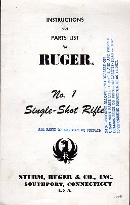 1967 Ruger No.1 Instructions
