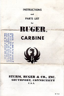 1961 Ruger .44 Mag Carbine Instructions [RGRINST22]