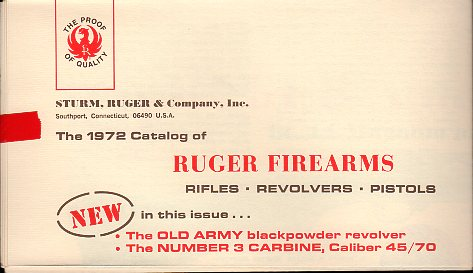 1972 Ruger Firearms Catalog B