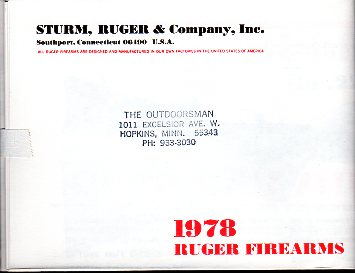1978 Ruger Firearms Catalog #2