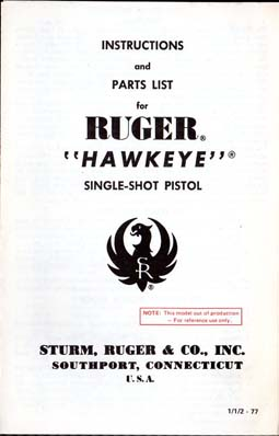 1977 Ruger Hawkeye Instr.Manual