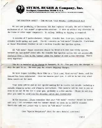 "1982 Ruger ""Old Model Conversion"" letter"