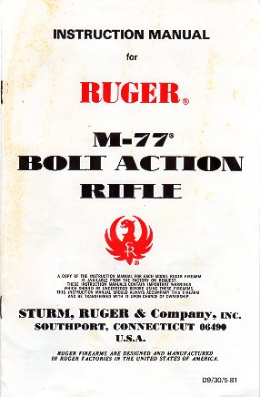 1981 Ruger M-77 Instructions