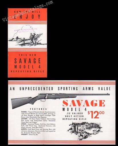 1933 Savage Model 4 Brochure