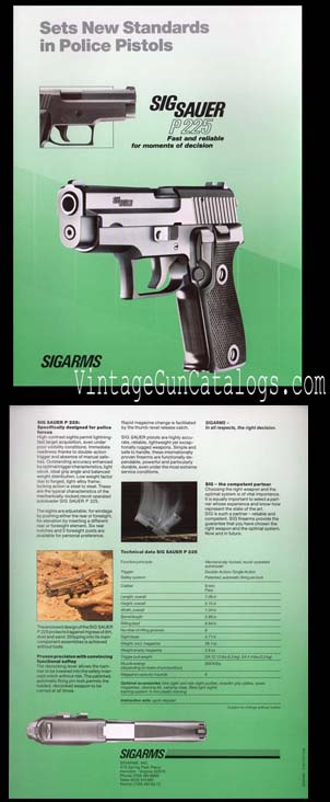 1987 SIGARMS P 225 Broadsheet