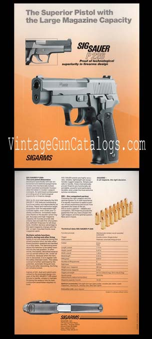 1987 SIGARMS P 226 Broadsheet