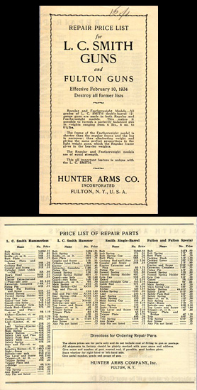 1934 L.C. Smith / Fulton Repair Price List