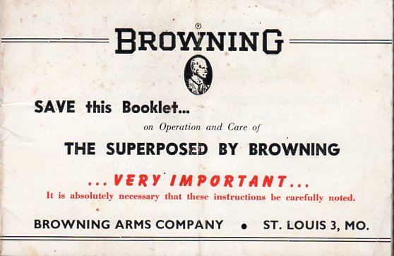 1955 Browning Superposed Magnum 12 Instruction